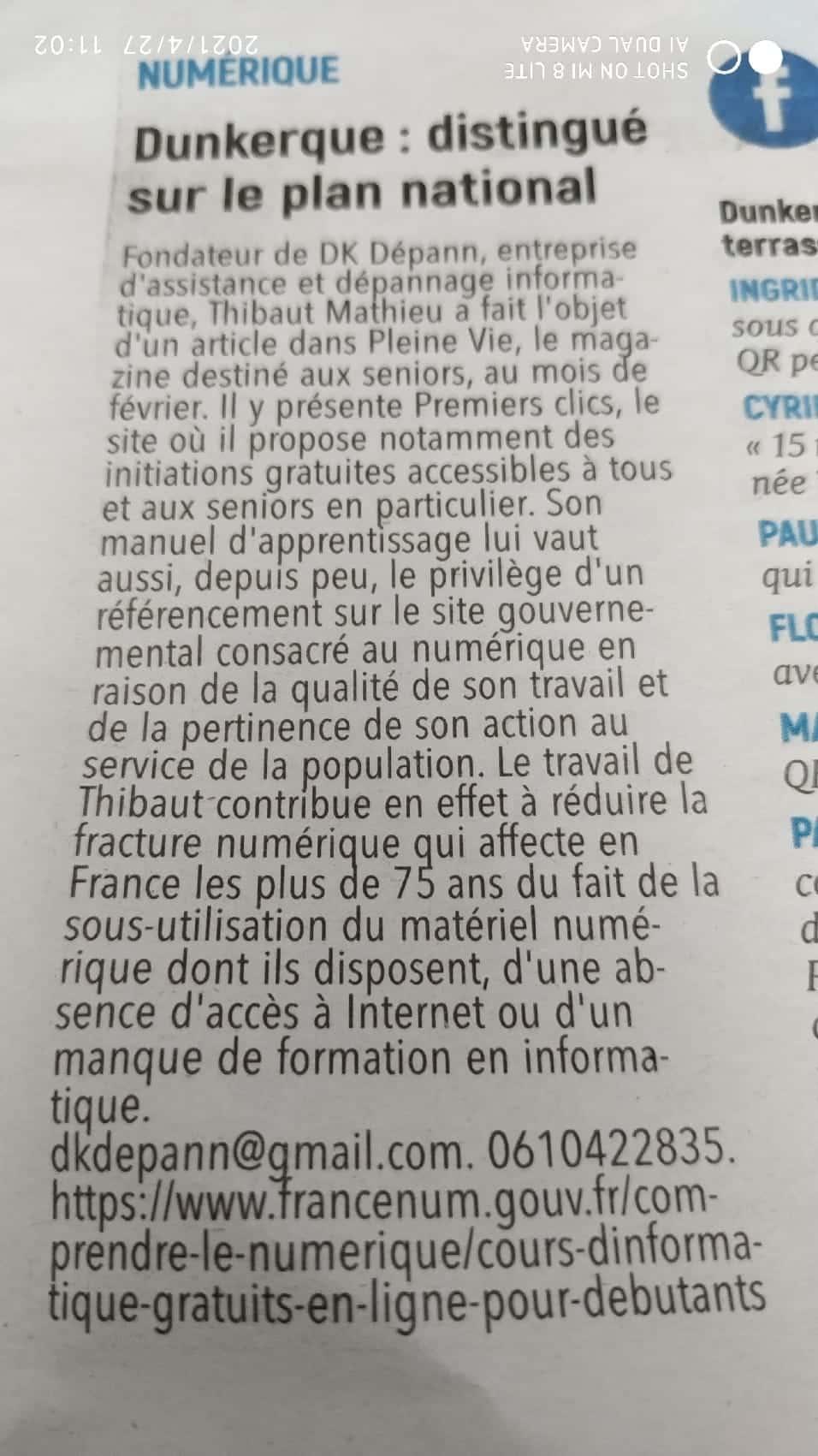 Presse - Article du Phare Dunkerquois sur DK Dépann